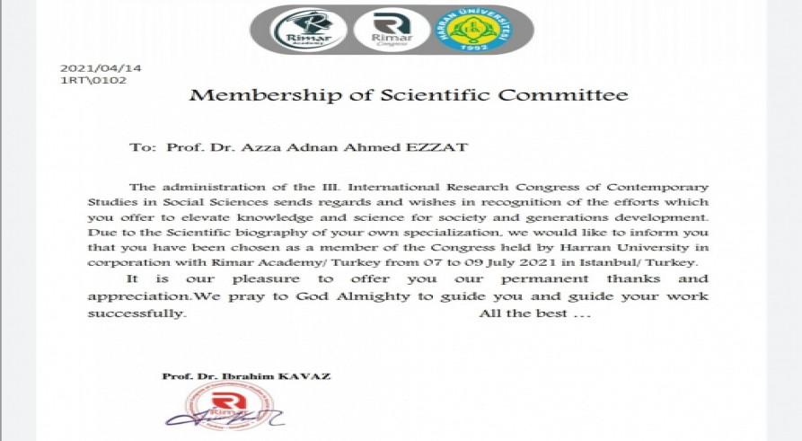 A Lecturer from the University Zakho Has Been Accredited the Membership of the Scientific Committee of the Turkish Remar Academy